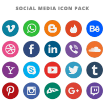 20 Free Flat Social Media Vector Icons Logo Vector Download